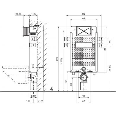 Инсталляция Ravak W/1000 для установки подвесного унитаза, стена, X01458