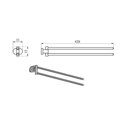 Двойной полотенцедержатель, поворотный, Ravak CHROME, X07P319