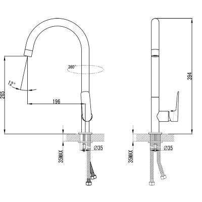 Смеситель для умывальника и кухонной мойки Ravak Classic, без открывания стока, X070085