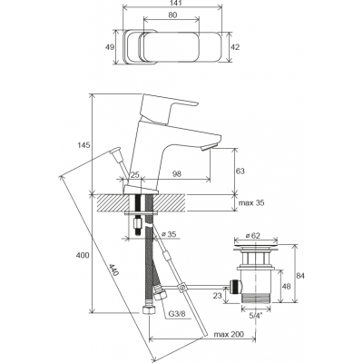Смеситель для умывальника Ravak 10° Free с открыванием стока TD F 011.00, X070126
