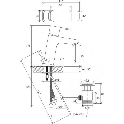 Смеситель для умывальника Ravak 10° Free с открыванием стока TD F 013.00, X070128