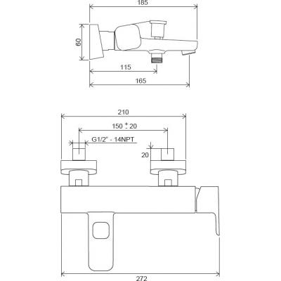 Смеситель для ванны Ravak 10° Free TD F 022.00/150 150 мм, X070131
