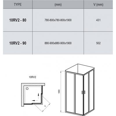 Прямоугольная душевая кабина Ravak 10RV2-90 алюминий, 1ZI70C00Z1