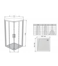 Прямоугольная душевая кабина Ravak 10RV2K-110 алюминий, 1ZJD0C00Z1