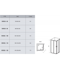 Прямоугольная душевая кабина Ravak 10RV2K-80 алюминий, 1ZJ40C00Z1