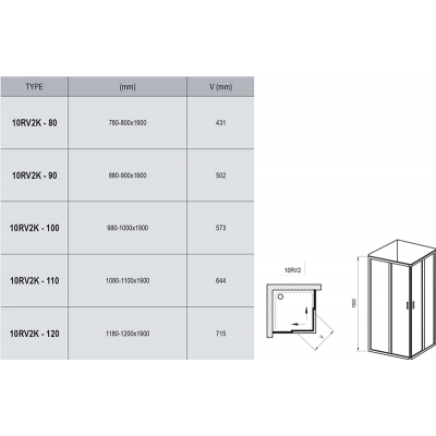 Прямоугольная душевая кабина Ravak 10RV2K-90 алюминий, 1ZJ70C00Z1