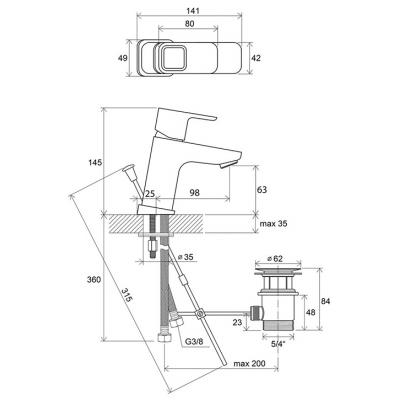 Смеситель для умывальника Ravak 10* с открыванием стока TD 011.00, X070063