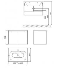 Шкафчик под умывальник Ravak SDD Classic 600 березовый/белый, X000001086