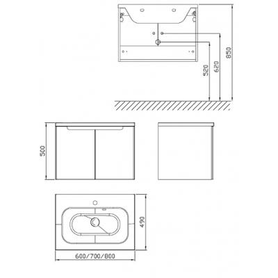 Шкафчик под умывальник Ravak SDD Classic 600 латте/белый, X000001087