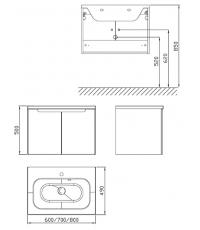 Шкафчик под умывальник Ravak SDD Classic 600 капучино/белый, X000001088