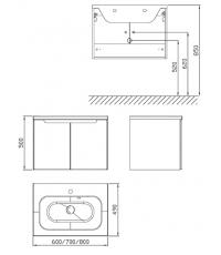 Шкафчик под умывальник Ravak SDD Classic 700 березовый/белый, X000001090