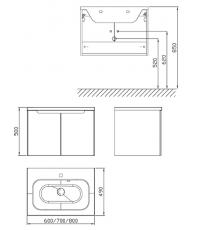 Шкафчик под умывальник Ravak SDD Classic 700 капучино/белый, X000001092