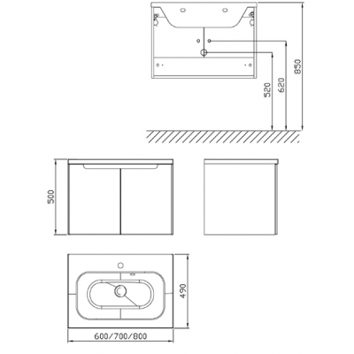 Шкафчик под умывальник Ravak SDD Classic 800 белый/белый, X000001093