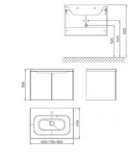Шкафчик под умывальник Ravak SDD Classic 800 березовый/белый, X000001094
