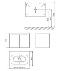 Шкафчик под умывальник Ravak SDD Classic 800 латте/белый, X000001095