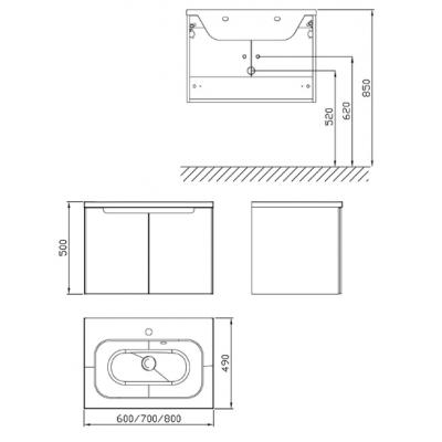 Шкафчик под умывальник Ravak SDD Classic 800 капучино/белый, X000001096