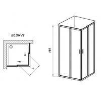 Душевой уголок Ravak BLIX Slim BLSRV2-90, полиров. алюминий + TRANSPARENT, X1LM70C00Z1
