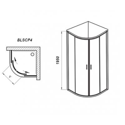 Душевой уголок Ravak BLIX Slim BLSCP4-90, полиров. алюминий + TRANSPARENT, X3BM70C00Z1