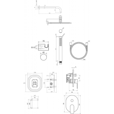Душевая система скрытого монтажа Ravak, CR09000