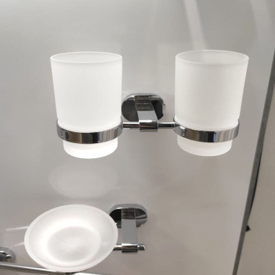 Держатель з двумя стаканами д/зубних щеток (стекло) Ravak CR 220, X07P189