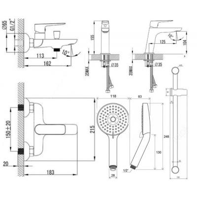 Набор смесителей для ванны Ravak Classic (CL 012,CL 022,953.00,972.00,911.00), 70320254