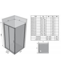 Душевые двери Ravak BLIX BLDP 4 - 120 Grape, полированный алюминий, безопасное стекло, 0YVG0C00ZG