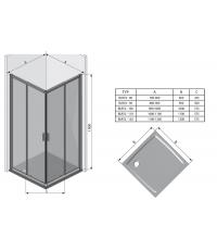 Квадратная душевая кабина Ravak BLIX BLRV2K-100 полированный алюминий GRAFIT, 1XVAOCOOZH