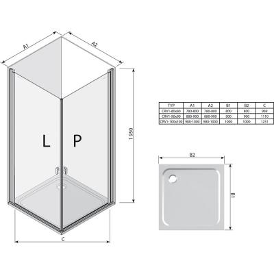 Прямоугольная душевая кабина Ravak CHROME CRV 1 - 90 Transparent, профиль сатин, безопасное стекло,