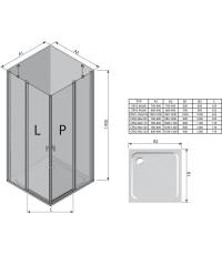 Прямоугольная душевая кабина Ravak CHROME CRV 2 - 80 Transparent, белый профиль, безопасное стекло,