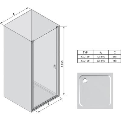Душевая дверь Ravak CHROME CSD 1 - 80 Transparent, белый профиль, безопасное стекло, 0QV40100Z1