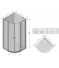 Угловая душевая кабина Ravak CHROME CSKK 4 - 80 Transparent, белый профиль, безопасное стекло, 3Q140