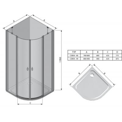 Угловая душевая кабина Ravak CHROME CSKK 4 - 90 Transparent, полированный алюминий, безопасное стекло, 3Q170C00Z1