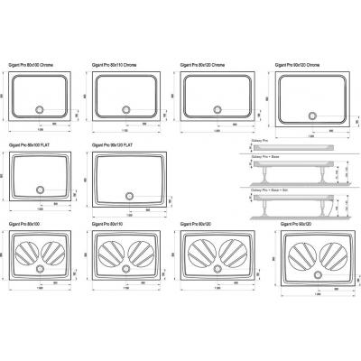 Поддон для душевых кабин Ravak GIGANT PRO Chrome 100x80, прямоугольный, литой мрамор, XA04A401010
