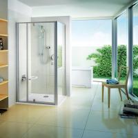 Душевые двери Ravak PIVOT PDOP 2 - 120 Transparent, белый профиль, ручка хром, безопасное стекло, 03