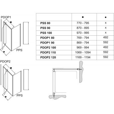Стенка для душевой кабинки Ravak PIVOT PPS-80 Transparent, профиль сатин, 90G40U00Z1