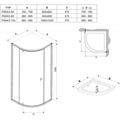 Угловая душевая кабина Ravak PIVOT PSKK 3 -  90 Transparent, стекло,белый профиль, хром, 37677100Z1
