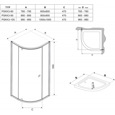 Душевая штора Ravak PIVOT PSKK 3 - 90 Transparent, угловая, стекло, сатин, 37677U00Z1