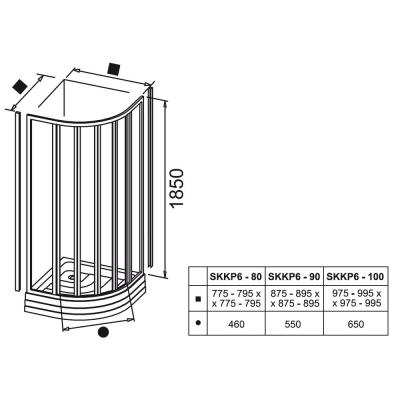 Полукруглый душевой уголок Ravak SUPERNOVA SKCP 4 - 80 SABINA Transparent (прозрачная), стекло, сатин, 31144VU00Z1