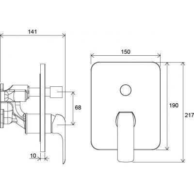 Смеситель скрытого монтажа ванна/душ Ravak Flat для R-box Vari RB 072.50, X070123