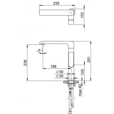 Смеситель для умывальника и кухонной мойки Ravak Flat, без открывания стока, X070125