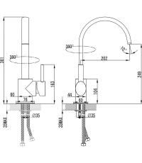 Высокий смеситель для умывальника без донного клапана, поворотный излив, X070090