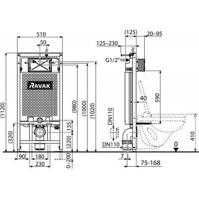 Инсталляция Ravak G PR/1200 для установки подвесного унитаза, гипсокартон X01705