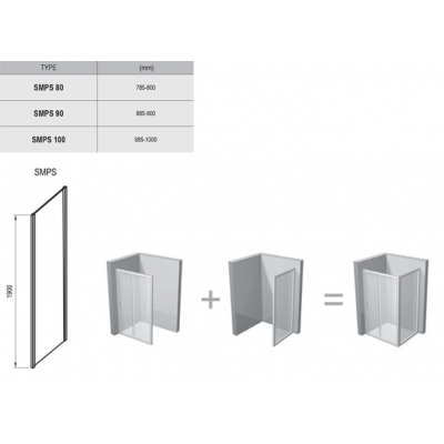 Стенка для душевой кабинки Ravak SMARTLINE SMPS - 90 R Transparent, фурнитура хром, безопасное стекло, 9SP70A00Z1